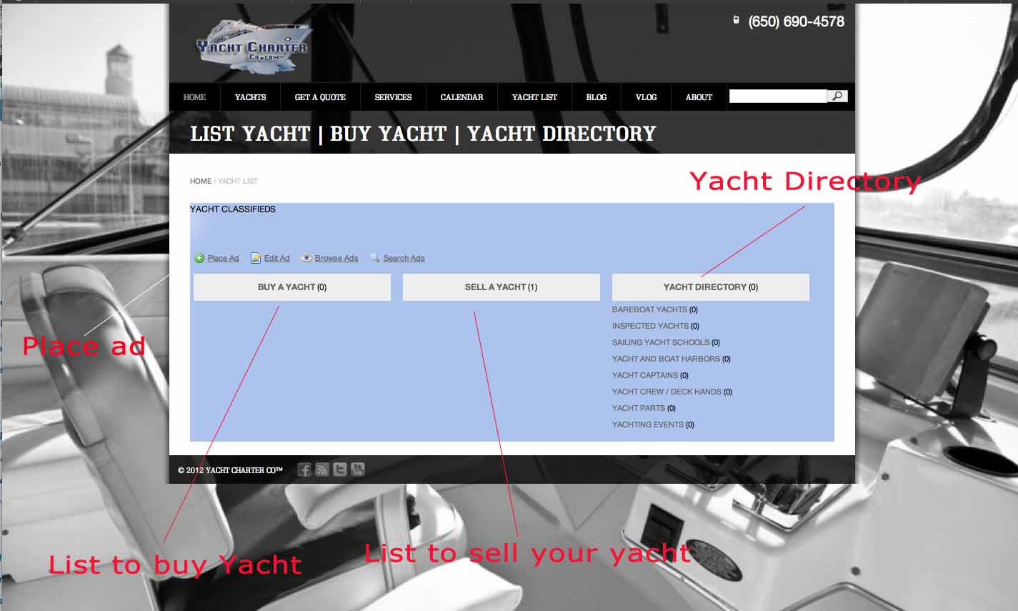 YACHT LISTING ad sample | yacht charter co